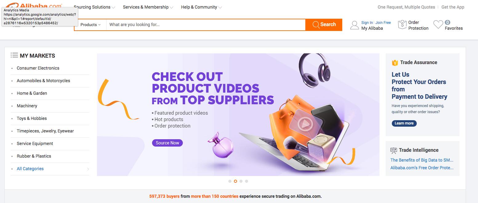 Voorbeeld van een b2b webshop design van Alibaba