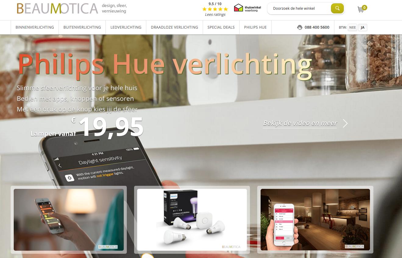 Een screenshot van de Magento 2 webshop van Beaumotica