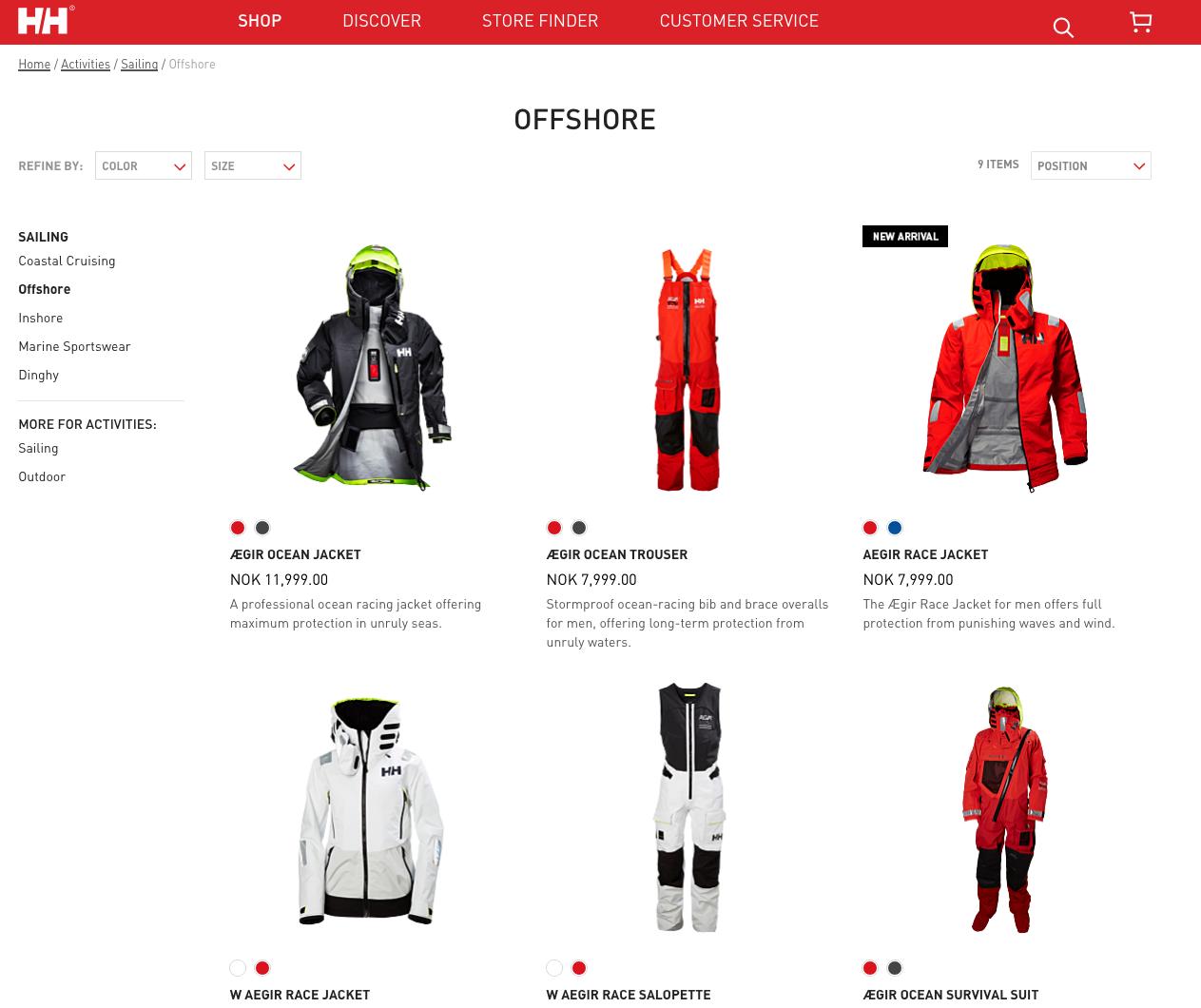 De webshop van Helly Hansen, zeilkleding