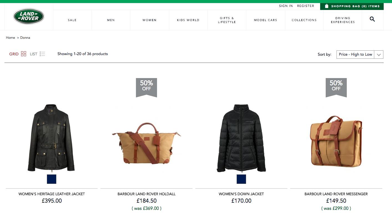 Magento 2 webshop screenshot van Landrover