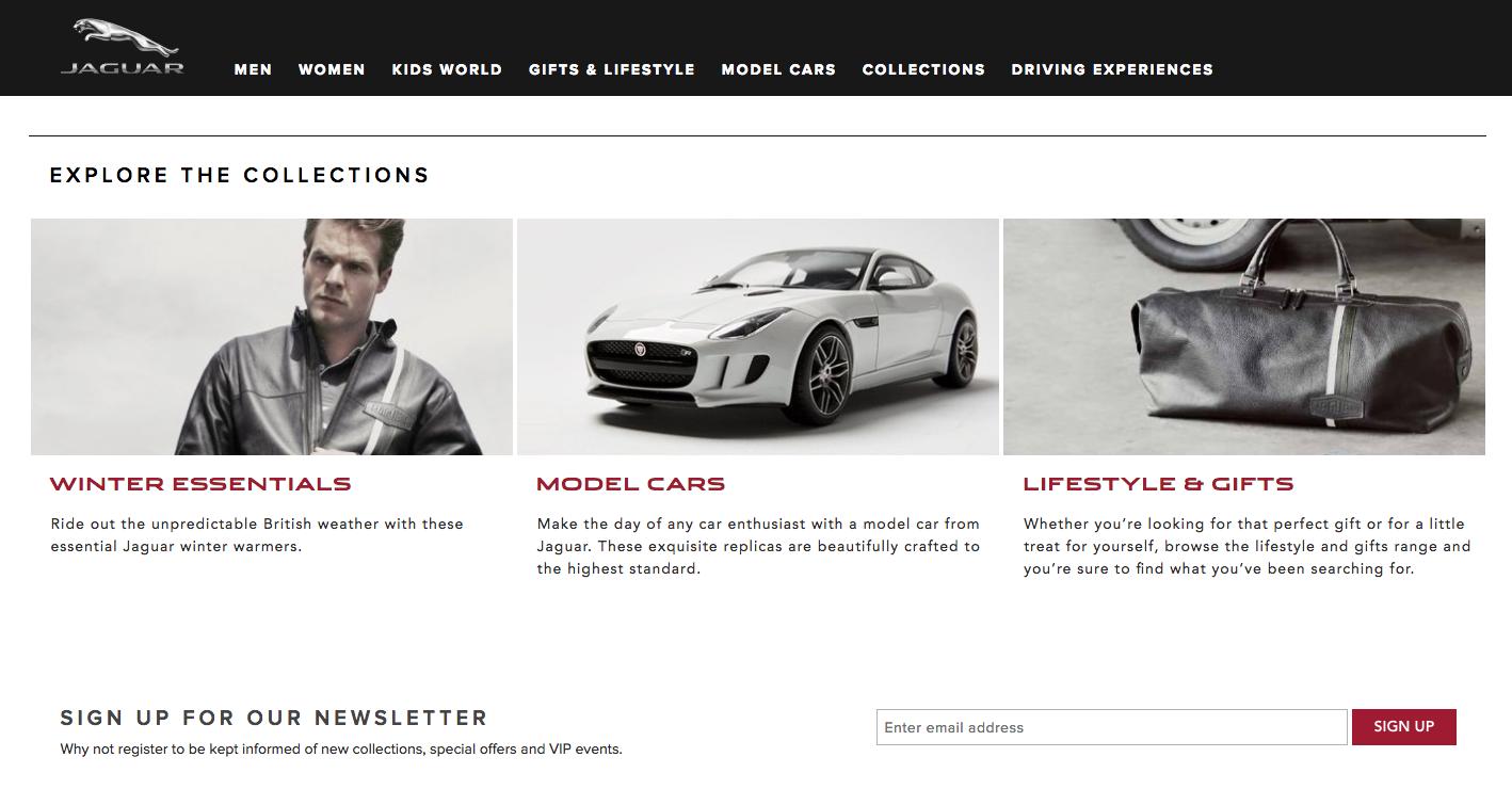 Een screenshot van de webshop van Jaguar