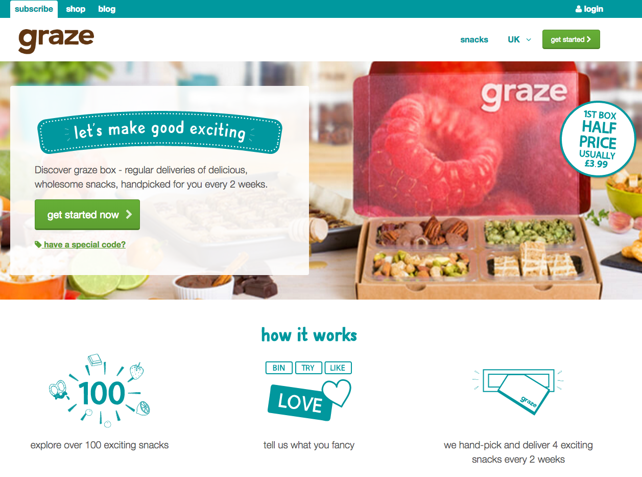Een screenshot van de website van Graze - Magento 2 design