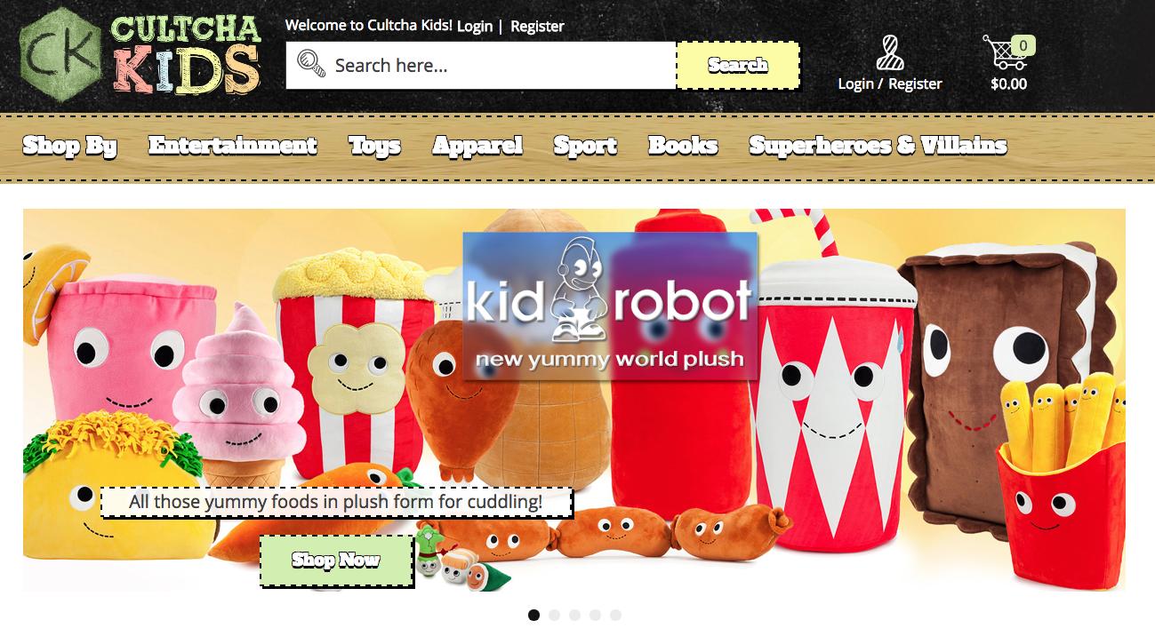 Een screenshot van de Magento 2 webshop van Cultcha Kids