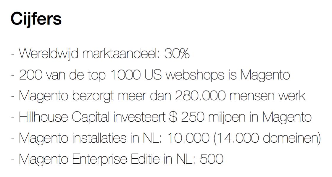 Een aantal cijfers over het aandeel van magento 2 tijdens de Magento 2 Seminar