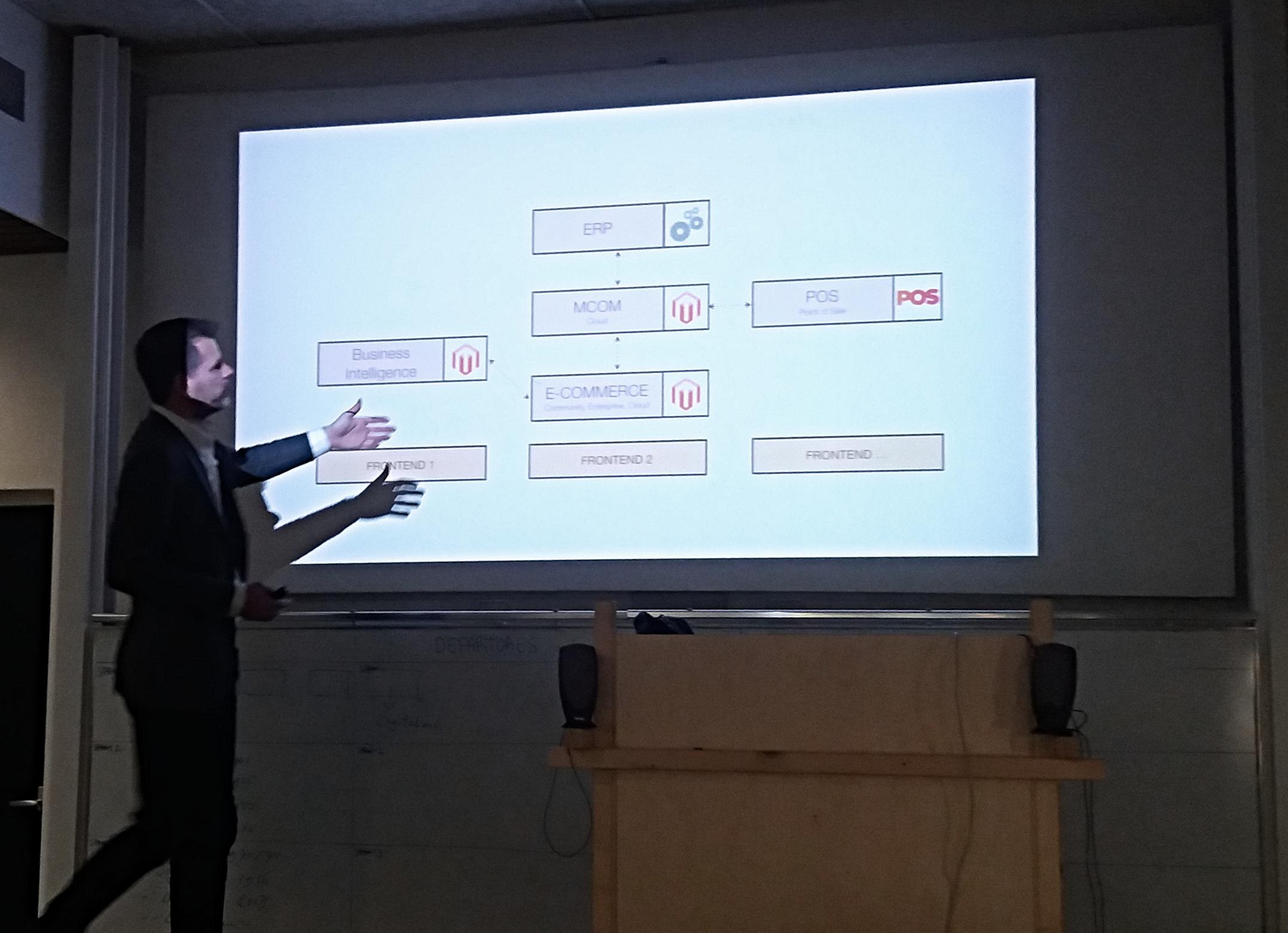 Falco presenteert Magento2 op een scherm