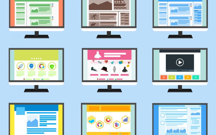 Verschillende getekende webshops