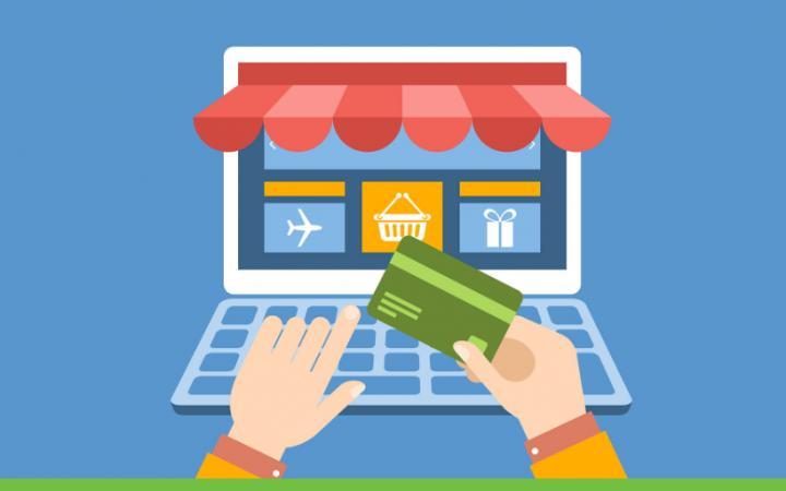 Illustratie van een online marktplaats