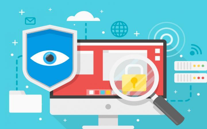 Visuele representatie van geopblocking. Illustratie met computer, vergrootglas en beveiliging.