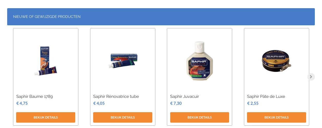 Een screenshot van de producten van Dumco
