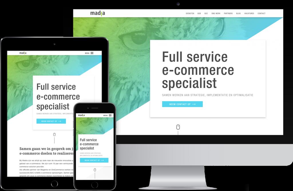 De nieuwe website van Madia op meerdere apparaten