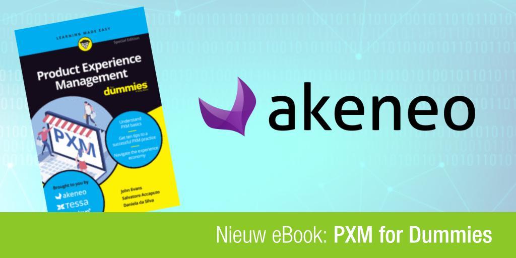 Cover van PXM for Dummies en het Akeneo logo