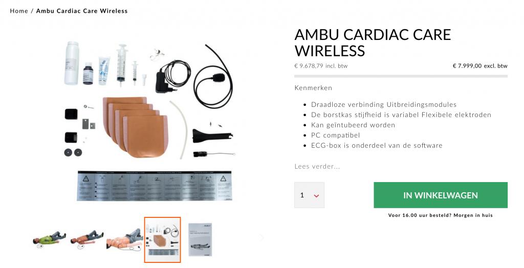 Een voorbeeld van een productdetailpagina op de webshop van AEDpartner
