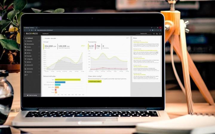 Een laptop met de interface van Buckaroo erop