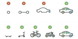 verschillende voertuigen om een MVP aan te geven
