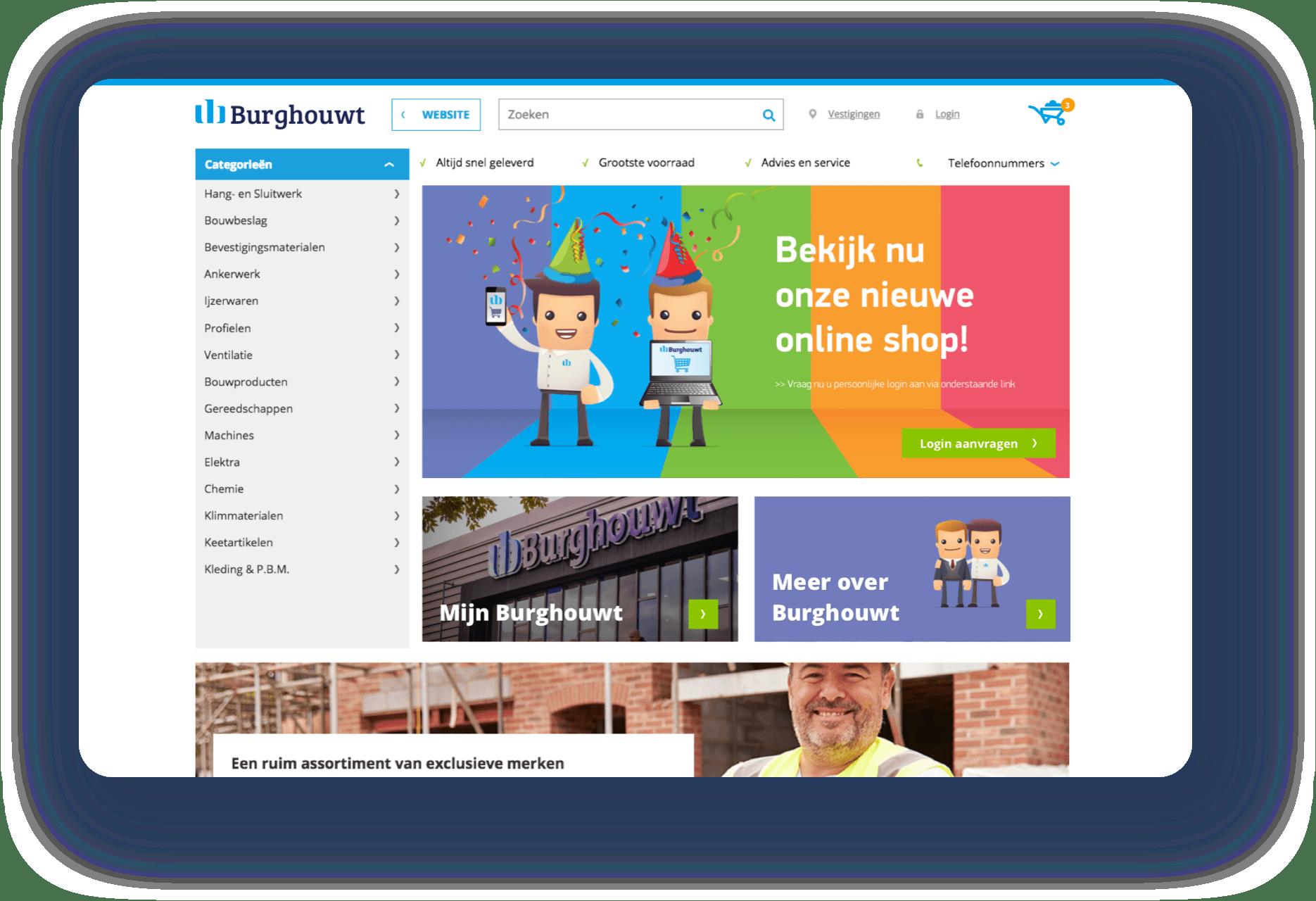 Screenshots van de webshop van Burghouwt getoond op een aantal verschillende apparaten.