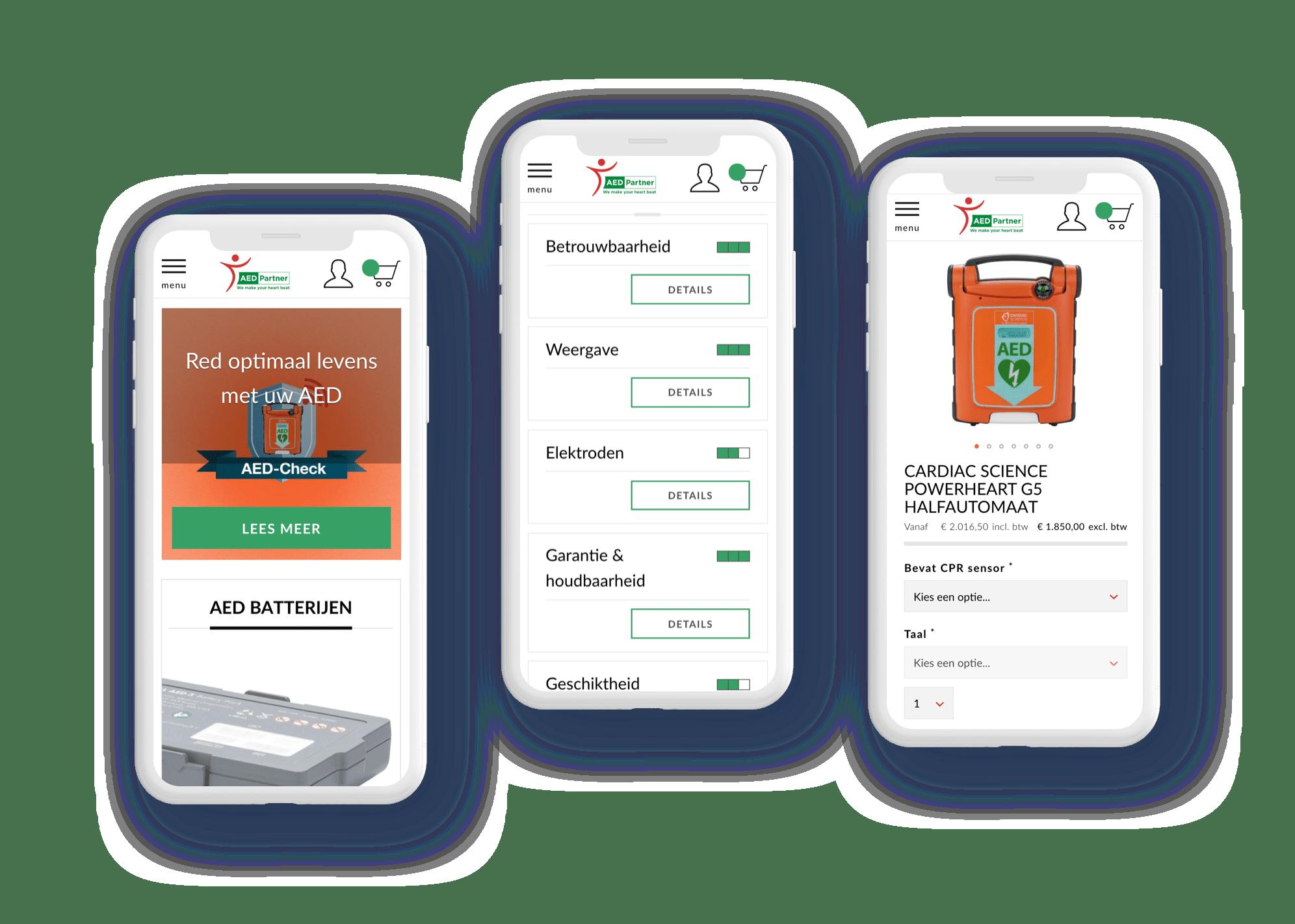Screenshots van de mobiele website van aed partner
