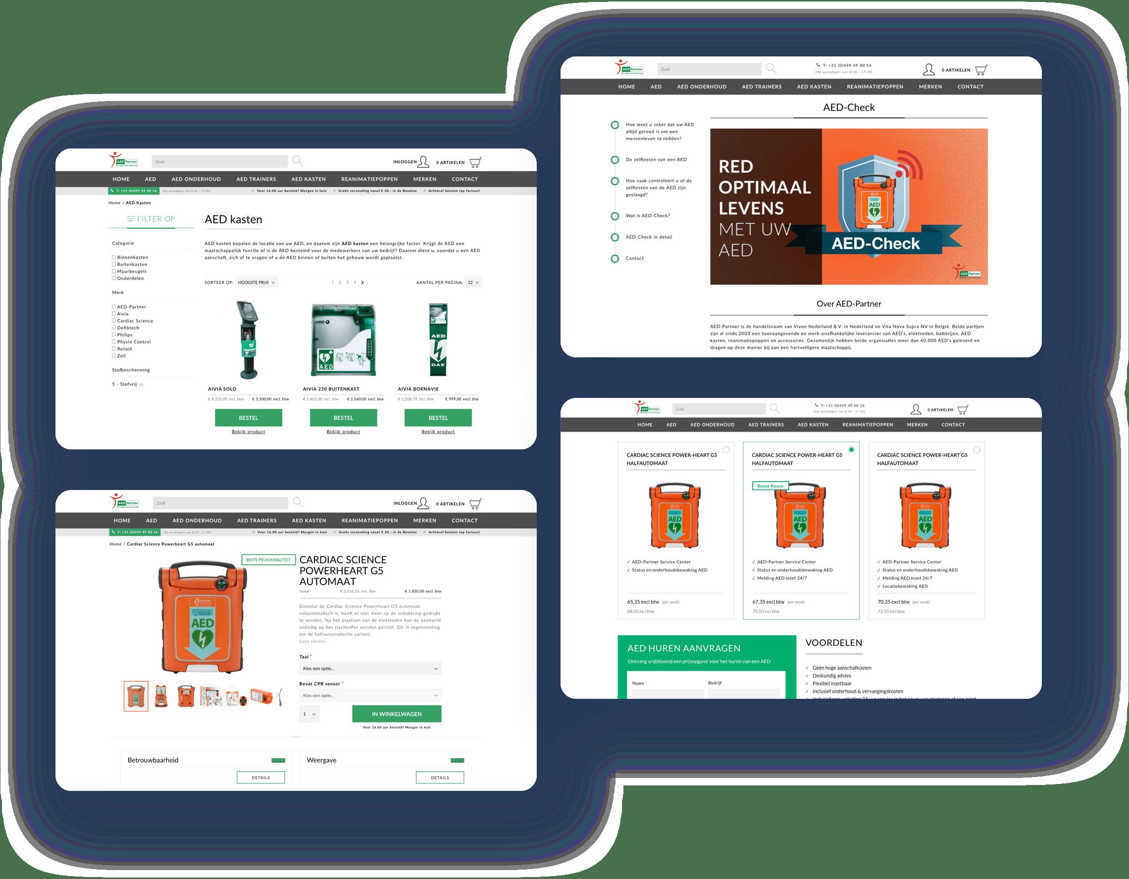 screenshots van de aed partner website