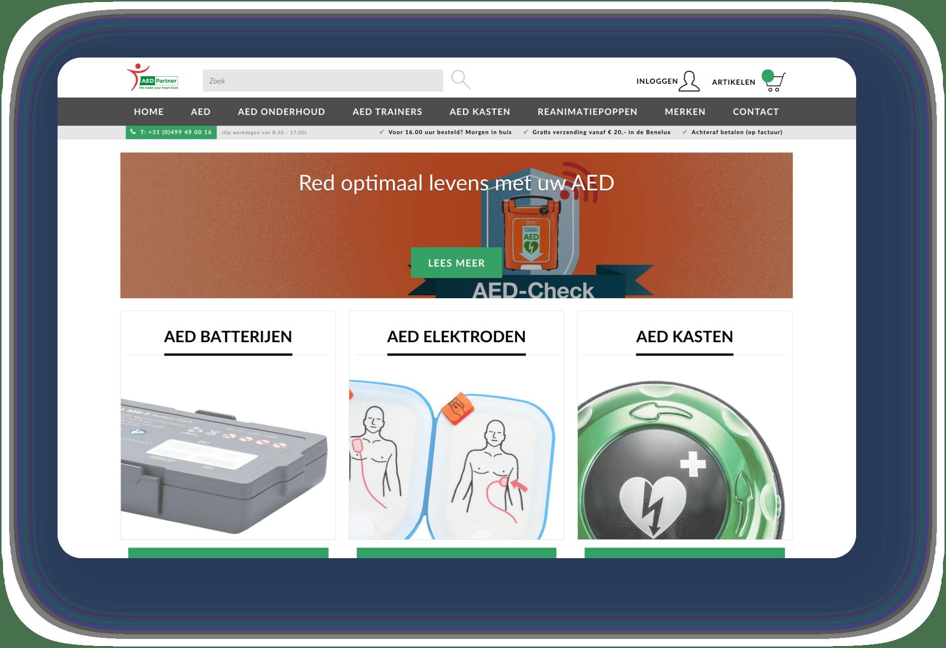 Screenshots van de webshop van AED partner getoond op een aantal verschillende apparaten.